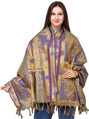 Zari-Woven Goddess Lakshmi and Lord Kuber Prayer Shawl