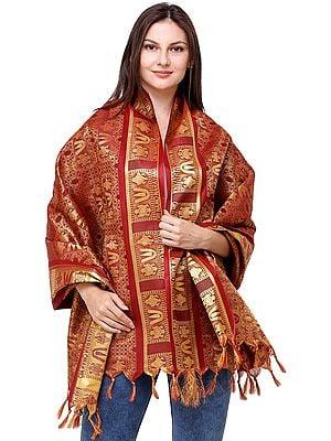Rio-Red Brocaded Narayana Prayer Shawl with Zari-Weaving All-Over