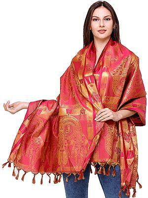Fuchsia-Rose Lakshmi-Narayana Brocaded Prayer Shawl