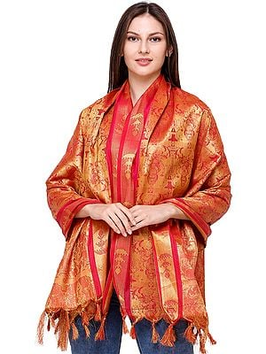 Formula-One Brocaded Goddess Lakshmi and Lord Vishnu Prayer Shawl