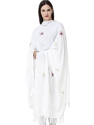Radhe Prayer Shawl with Embroidered Peacock Feather