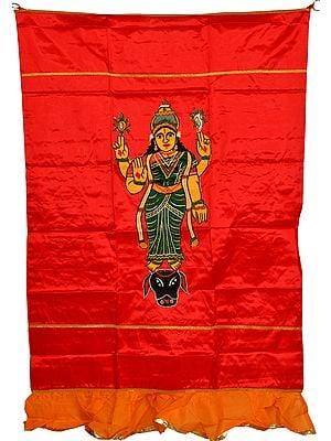 Red Mahishasura-Mardini Goddess Durga Auspicious Temple Curtain