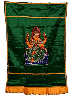 Auspicious Temple Curtain with Samayapuram Devi Mariamman Applique
