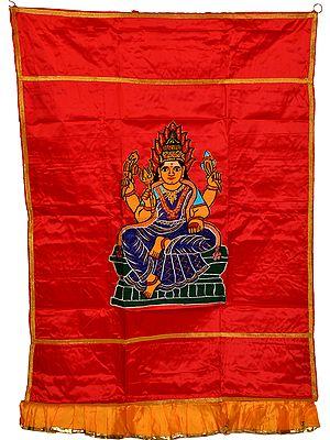 Auspicious Temple Curtain with Samayapuram Devi Mariamman Applique