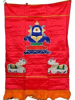 Rasberry-Pink Lord Shiva Linga and Nandi Auspicious Temple Curtain