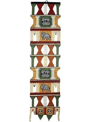 Multicolor Handloom Wall-Hanging with Embroidered Elephants and Bells