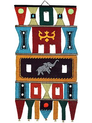 Multicolor Wall-Hanging from Maharashtra with Embroidered Elephants and Bells