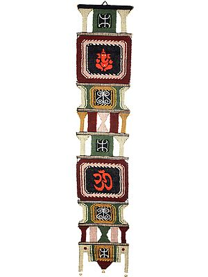 Long Wall-Hanging from Maharashtra with Embroidered Ganesha and Om (AUM)