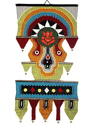 Ganesha Wall-Hanging from Maharashtra with Multicolored-Thread Embroidery and Bells