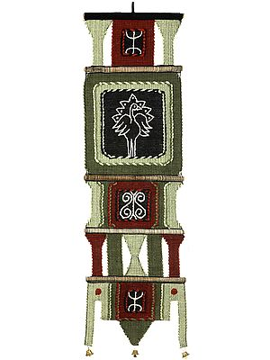 Long Wall-Hanging from Maharashtra with Embroidered White Peacock and Bells