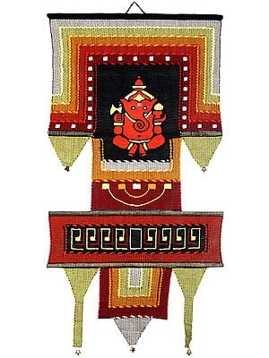 Handloom Wall-Hanging from Maharashtra with Embroidered Ganesha and Bootis