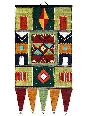 Multicolor Handloom Wall-Hanging from Maharashtra with Bells