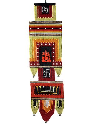 Long Wall-Hanging from Maharashtra with Embroidered Lord Ganesha and Swastik