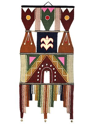 Multicolor Handloom Wall-Hanging with Embroidered Bootis and Temple Border