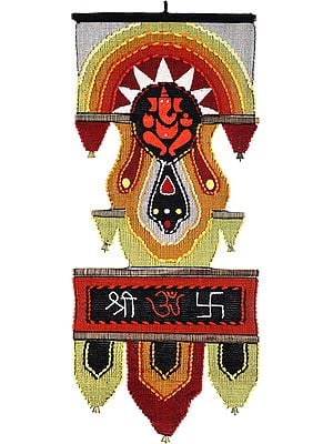 Ganesha Wall-Hanging with Multicolored-Thread Embroidered Om(AUM), Swastik and Shri