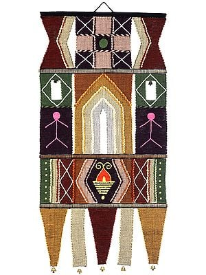 Handloom Wall-Hanging from Maharashtra with Multicolor Thread Embroidery All-Over