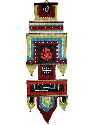Multicolor Wall-Hanging from Maharashtra with Embroidered Ganesha, Om (AUM) and Swastik