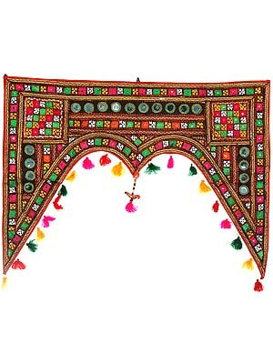 Multicolor Hand-Embroidered Toran for the Doorstep from Kutch with Mirrors and Hanging Parrot