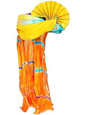 Multicolor Tie-Dye Printed Pagdi/Turban from Jodhpur
