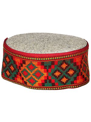 Mint-Gray Unisex Woolen Cap from Kullu with Multicolor Weave