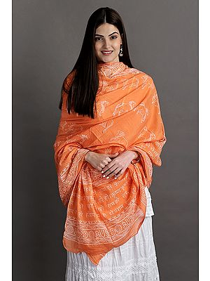 Hare Ram Hare Krishna Pure Cotton Prayer Shawl with Cow Printed All-Over