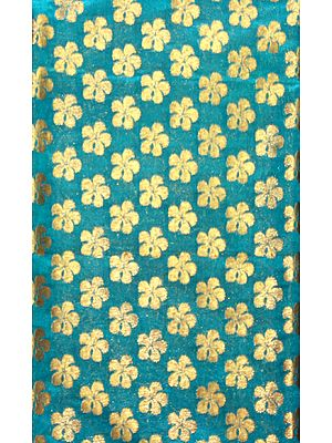Teal-Green Fabric from Banaras with All-Over Woven Flowers in Golden Thread