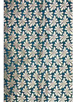 Teal-Green Katan Georgette Fabric from Banaras with All-Over Woven Flowers in Golden Thread