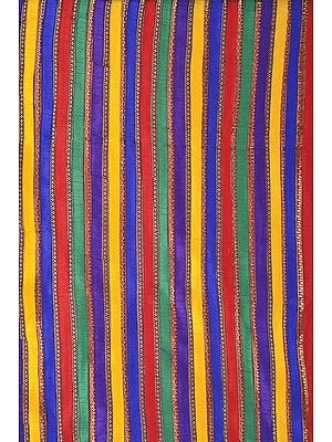Tri-Color Border Fabric from Banaras with Golden Thread Weave