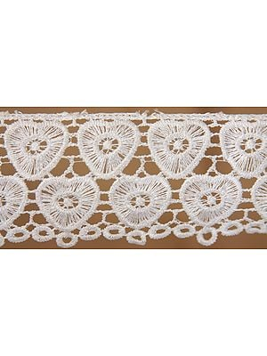 White Chikan Fabric Border from Lucknow