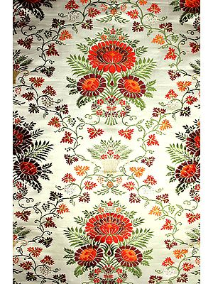 White Hand-Woven Banarasi Brocade with Stylized Floral Vase