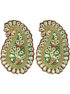 Green Paisley Zardozi Patch with Studded Stones and Sequins