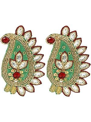 Pair of Green Paisley Zari-Embroidered Patches