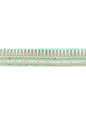 Zari-Embroidered Sada Saubhagyavati Bhava Fabric Border with Sequins