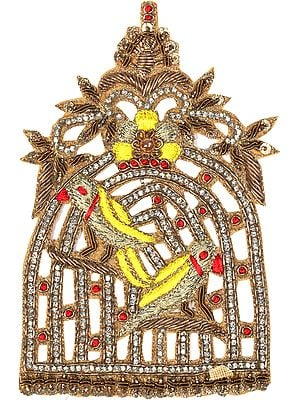 Designer Zardozi Parrot Cage Patch with Crystals and Sequins