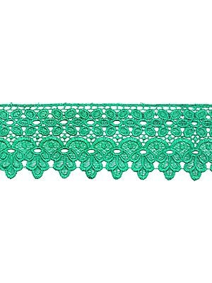 Medium-Green Floral Crochet Border with Cut-work