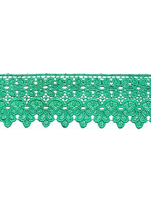Medium-Green Floral Crochet Border with Cut-work