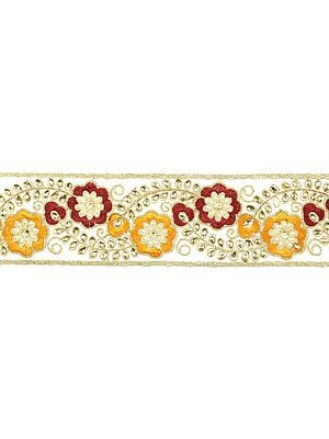 Beige Floral Embroidered Fabric Border with Crystals and Beads