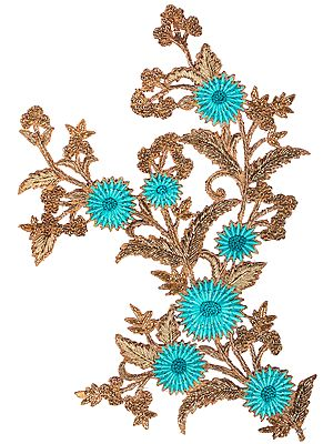 Gold and Green Floral Embroidered Patch with Beads