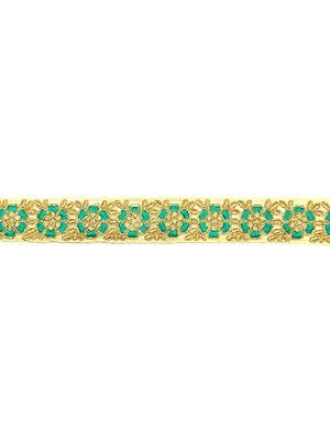 Beige Zari-Embroidered Fabric Border with Green Flowers