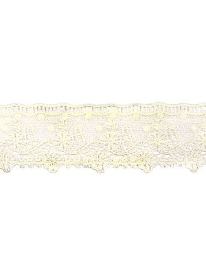Ivory Floral Crochet Border with Cut-work
