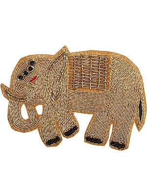 Champagne-Beige Embroidered Elephant Patch