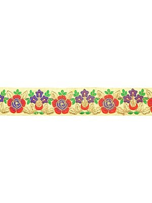 Bleached-Sand Fabric Border with Embroidered Flowers