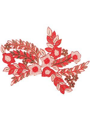 Papaya-Punch and Red Ari-Embroidered Floral Patch with Beads