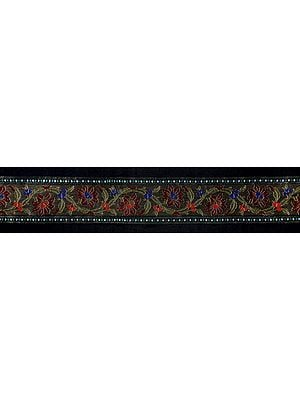 Ink-Black Fabric Border with Zari-Woven Flowers