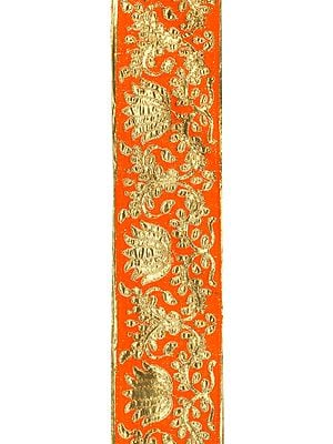 Zari-Embroidered Fabric Border with Golden Lotuses