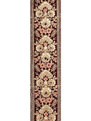 Garnet-Wine Zari-Embroidered Border with Florals All-Over