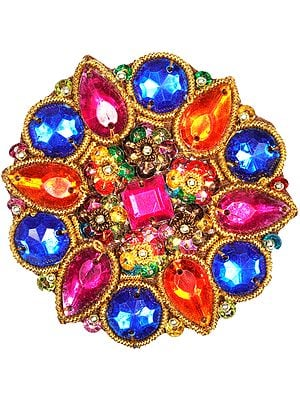 Multicoloured Stones Embellished Floral Patch