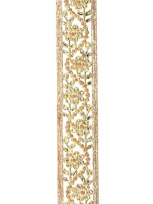 Rich-Gold Floral Gota Border with Cut-Work and Stones