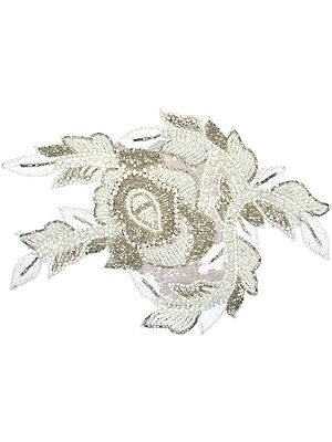 Ivory Embroidered Floral Patch with Embellished Beads and Sequins