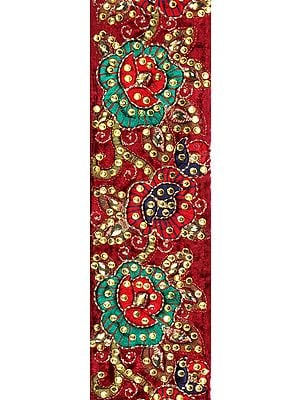Earth-Red Fabric Border with Ari Embroidered Flowers and Crystals